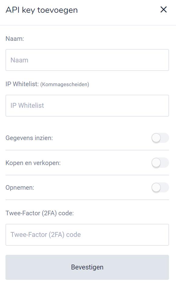 Bitvavo API key toevoegen